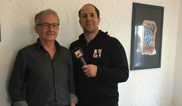 Anton Heiser (li.) im Gespräch mit Radio Energy Nachrichtenchef Dennis Hamann.
